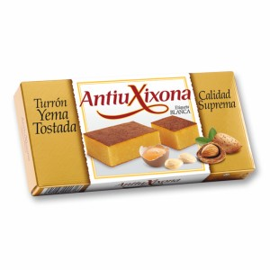 Turrón (nougat) Yema Tostada (Crème brulée) - Etiquette blanche - Antiu Xixona 200g