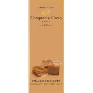 Tablette Praliné Feuilleté (Lait) Caramel au Beurre Salé - Comptoir du Cacao - 80g