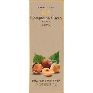 Tablette Praliné Feuilleté (Noir) Noisettes - Comptoir du Cacao - 80g
