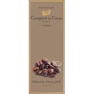 Tablette Praliné Feuilleté (Noir) Noisette & Café - Comptoir du Cacao - 80g