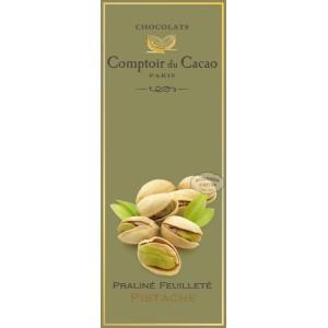 Tablette Praliné Feuilleté (Lait) Noisette & Pistache - Comptoir du Cacao - 80g