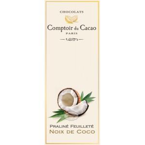 Tablette Praliné Feuilleté (Blanc) Noisette & Noix de Coco - Comptoir du Cacao - 80g