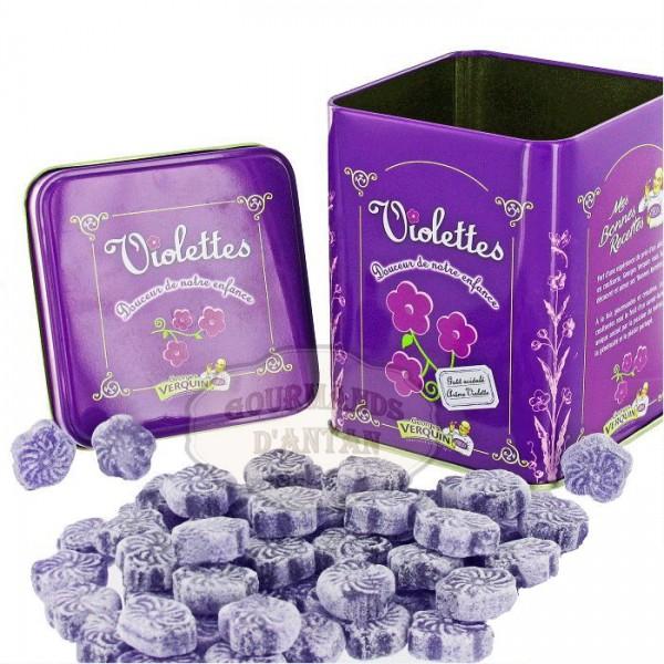 violettes bonbon la violette verquin boite m tal 400g gourmands d 39 antan. Black Bedroom Furniture Sets. Home Design Ideas
