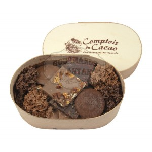 Assortiment chocolats Comptoir du cacao - Boite en bois 120g