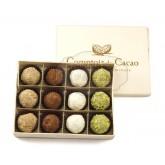 Truffes fantaisies au chocolat pralinées (x12) - Boite en bois 160g