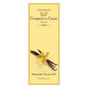 Tablette Praliné Feuilleté (Lait) Noisette & Vanille - Comptoir du Cacao - 80g
