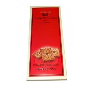 Tablette Praliné Feuilleté (lait) Noisette & Speculoos - Comptoir du Cacao - 80g
