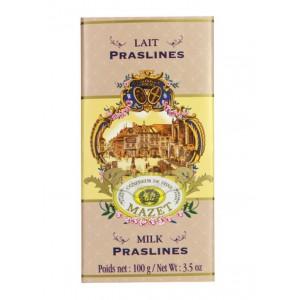 Tablette de chocolat au lait  & Praslines Mazet - 100g