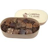 Assortiment feuilletés pralinés, palets, croquants - Comptoir du cacao - Boite en bois 380g