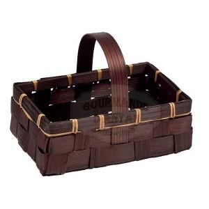 Petit Panier bambou anses fixes Chocolat (18x12x 6/13).