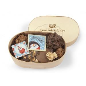 Chocolats NOËL Assortiment  - Comptoir du cacao - Boite en bois 120g