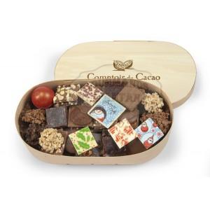 Chocolats NOËL Assortiment  - Comptoir du cacao - Boite en bois 380g