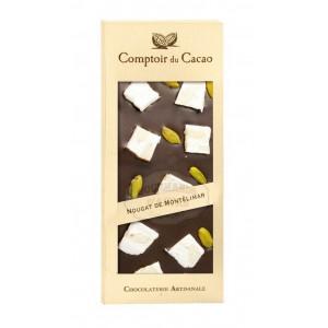 Tablette gourmande Noir - Nougat de Montélimar Comptoir du Cacao