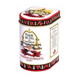 Fleur de Sel de Camargue au Piment d'Espelette AOP Bio Provence d'Antan - Boite fer luxe 50g