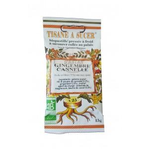 Biopastilles de tisane à sucer GINGEMBRE - CANELLE biologique - 15g (25 pastilles)