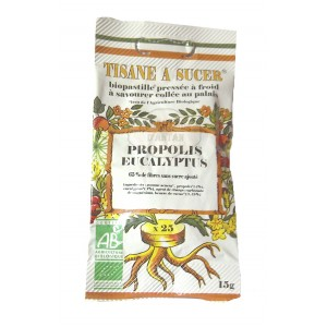 Biopastilles de tisane à sucer PROPOLIS - EUCALYPTUS biologique - 15g (25 pastilles)