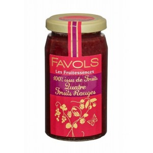 Confiture 100% quatre Fruits rouges - Favols 250g
