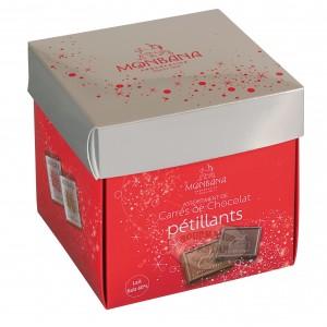 Monbana Carrés de chocolat pétillant - Boîte Tulipe 220g