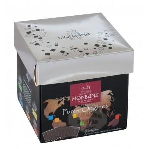 Monbana Carrés de chocolat Noir Pures Origines  - Boîte Tulipe 220g