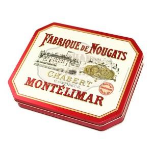 Assortiment Nougat de Montélimar chocolat NOIR et LAIT- ORANGE -  Boite métal