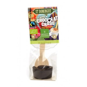 Chocolat chaud NOIR 73% BIO St Domingue - Cuillère bois Bovetti