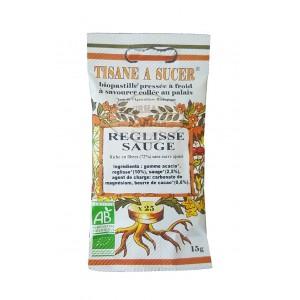Biopastilles de tisane à sucer RÉGLISSE - SAUGE biologique - 15g (25 pastilles)