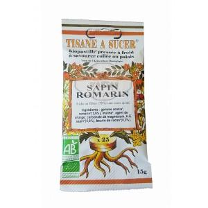 Biopastilles de tisane à sucer SAPIN - ROMARIN biologique - 15g (25 pastilles)