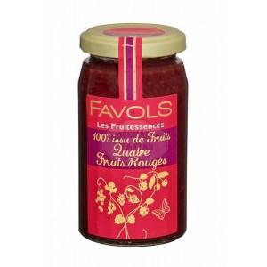 Confiture 100% quatre Fruits rouges - Favols 250g