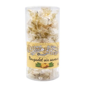 Nougat Blanc Tendre 6 SAVEURS (papillotes) - Nougat Jonquier - Boite 200g