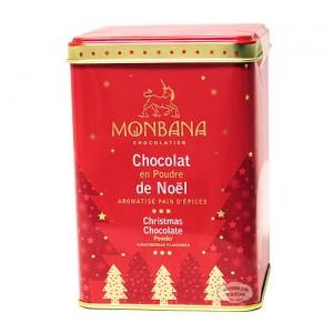 Monbana chocolat en poudre de Noël arôme Pain d'Epices - Boite fer collector  250g